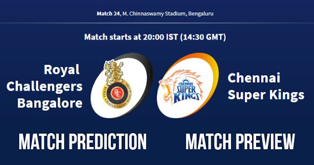 IPL 2018 Match 24 RCB vs CSK Match Prediction, Preview and Head to Head: Who Will Win?