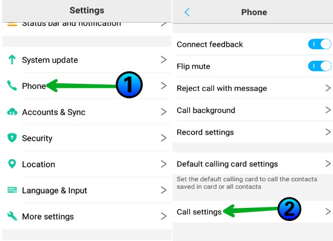 Call setting par click kare