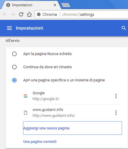 Chrome aggiungere più pagine web all'avvio