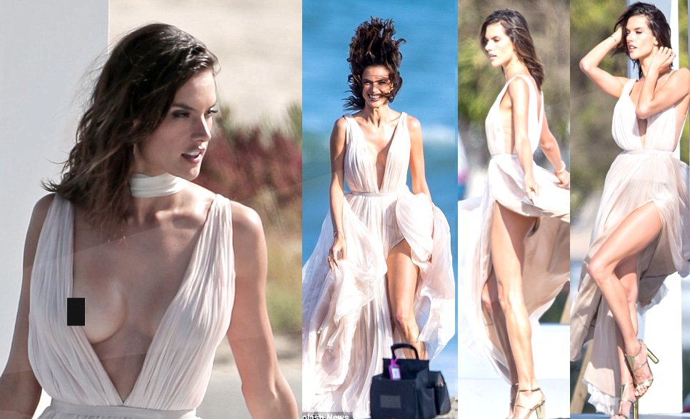 Alessandra Ambrósio, Ad photoshoot, Malibu beach, May 2016, wardrobe malfunction, nip-slip