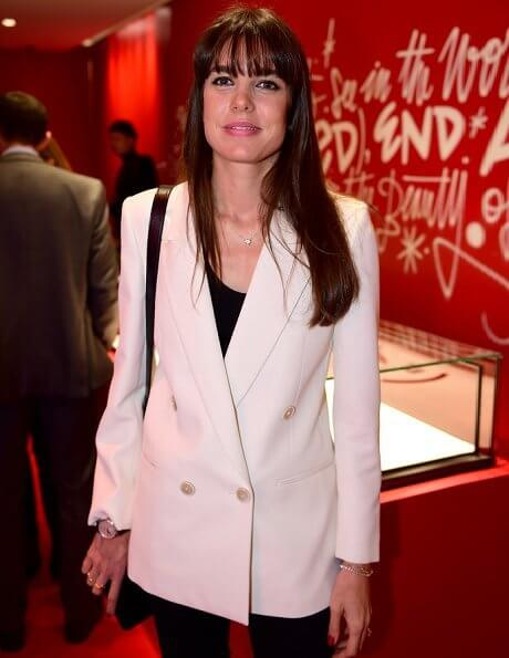 Charlotte Casiraghi attended the fundraising event of Montblanc held at the Boutique Champs-Elysees in Paris
