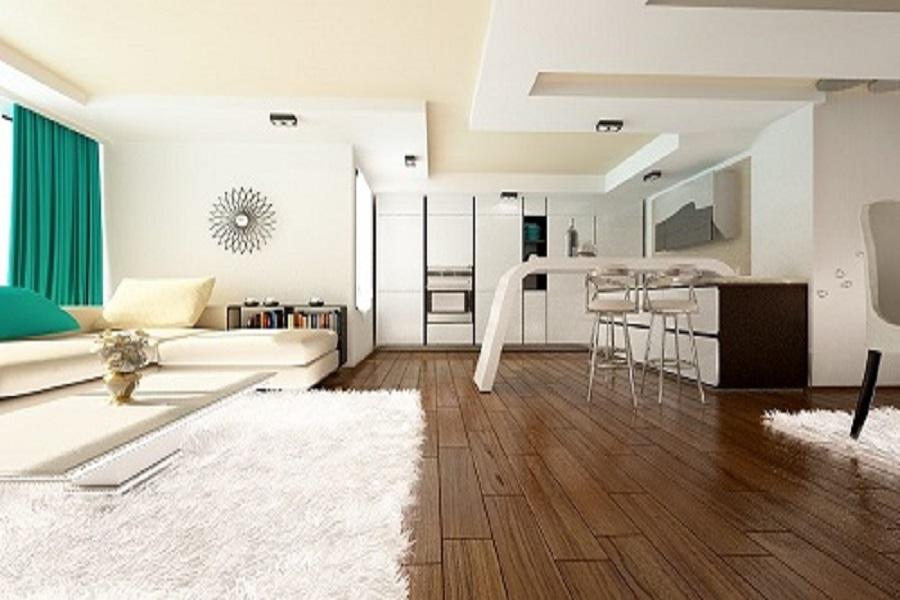 Design interior living cu bucatarie casa moderna