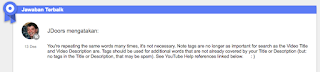 Perlukah & Waspadalah Dalam Penulisan Video Tag Di Video Youtube