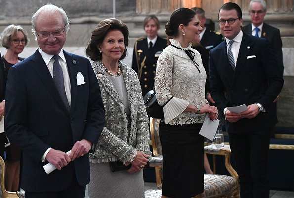 Crown Princess Victoria wore Erdem x H&M blouse, collection. Queen Silvia fashion and style. Bernadotte Dynasty