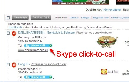 Skype click to call