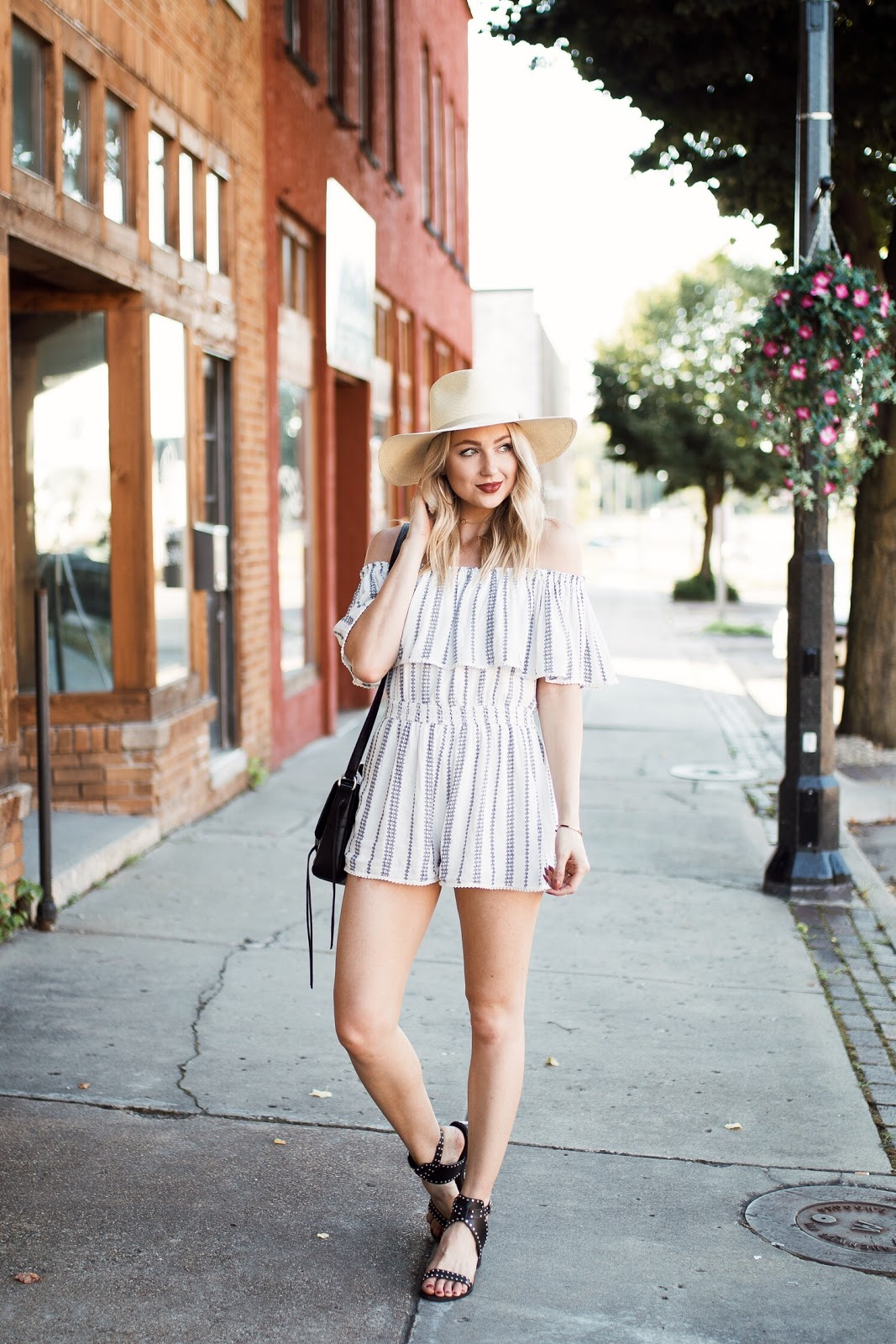 Lulus off-the-shoulder ruffle romper // 4th of July outfit idea