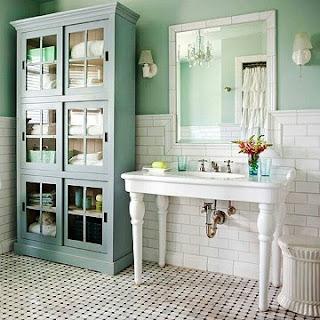 Baño verde menta