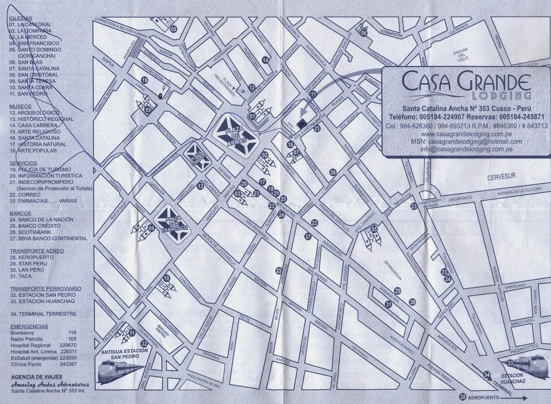 Mapa do centro histórico de Cusco / Peru.