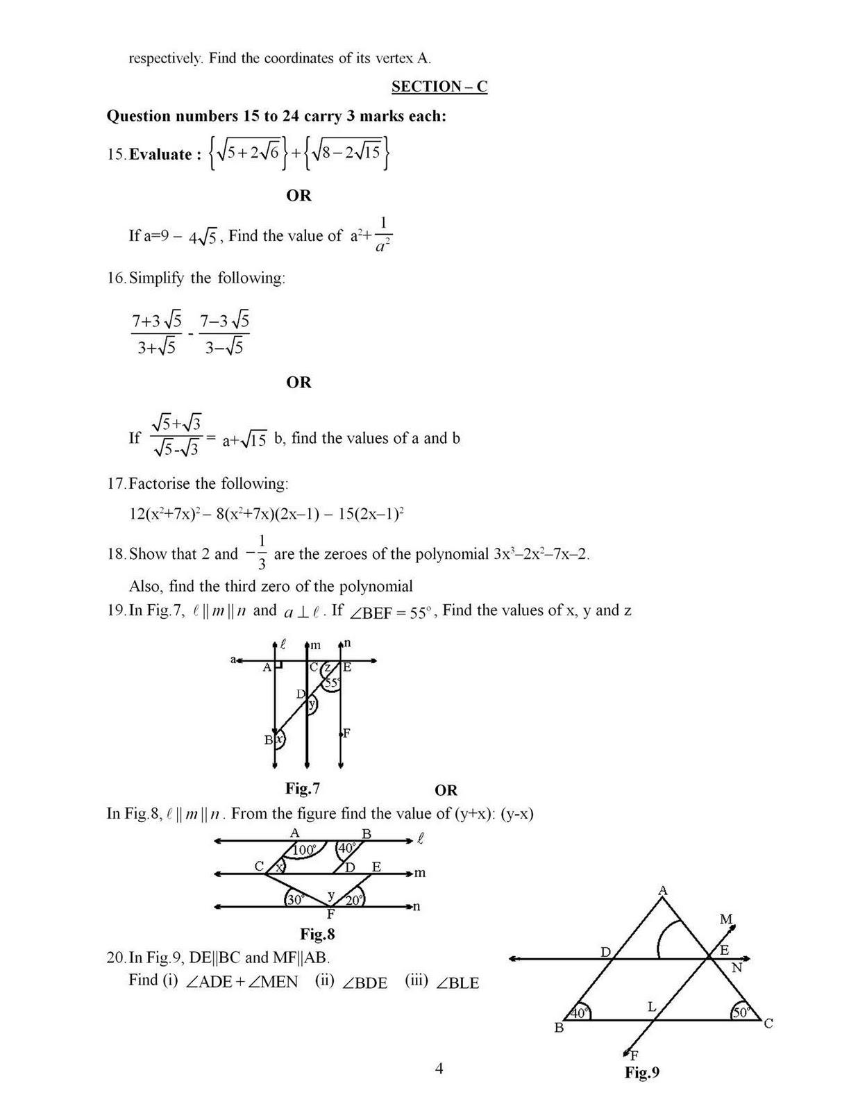 5th Grade Math Test Paper
