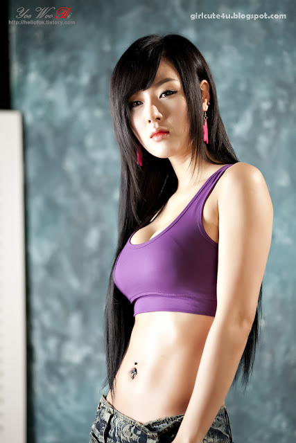3 Hwang Mi Hee-Purple Sport Bra-very cute asian girl-girlcute4u.blogspot.com