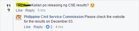 CSE-PPT results on December 3