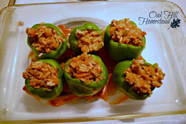 Stuffed green peppers, filled with sausage, rice and chopped vegetables.