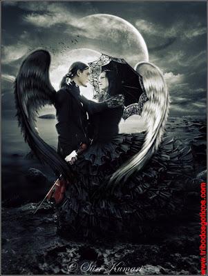 ANJOS APAIXONADOS fallen angels goticos black lua cheia