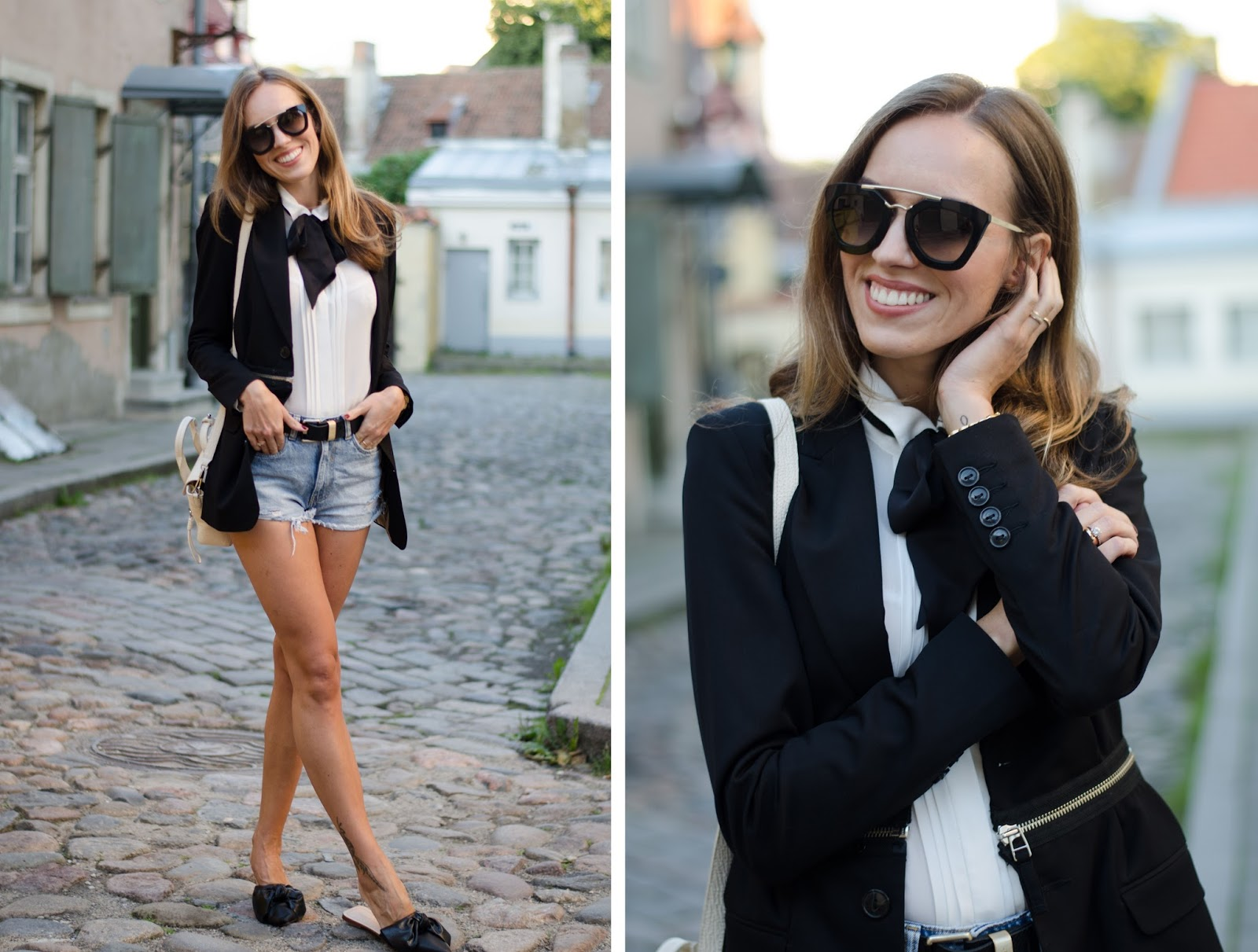 black blazer denim shorts summer outfit