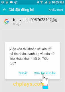 Hướng dẫn xóa tài khoản Ch Play trên máy smartphone Android c