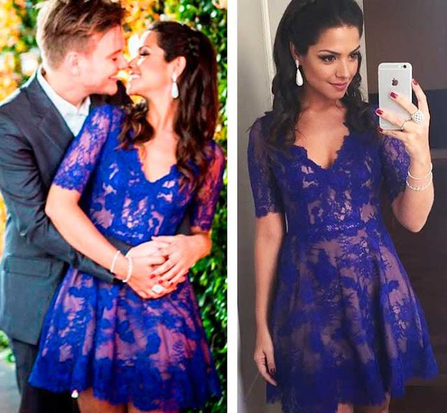 Thais Fersoza casamento civil Michel Teló, vestido azul