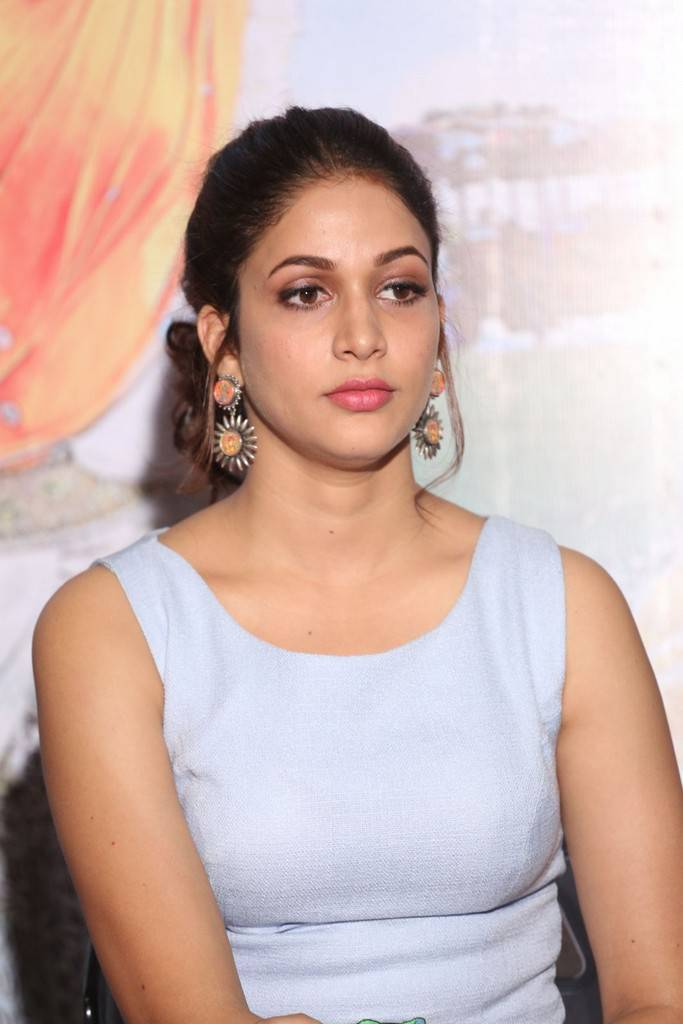 Tollywood Actress In Blue Dress At Movie Trailer Launch Lavanya Tripathi