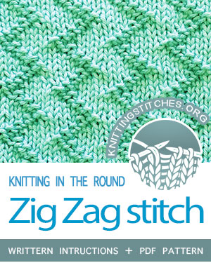 Circular Knitting - Zig Zag stitch pattern. Zig Zag Seed stitch in the round | Knit - Purl stitches  #knitintheround