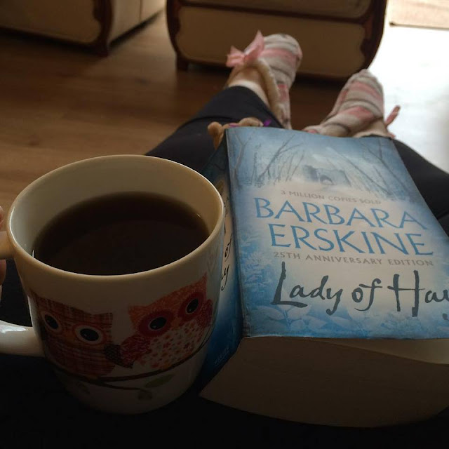 Lady of Hay book and a mug of coffee