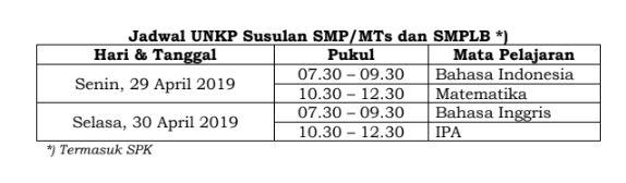 - Jadwal UNKP Susulan SMP/MTs dan SMPLB *)