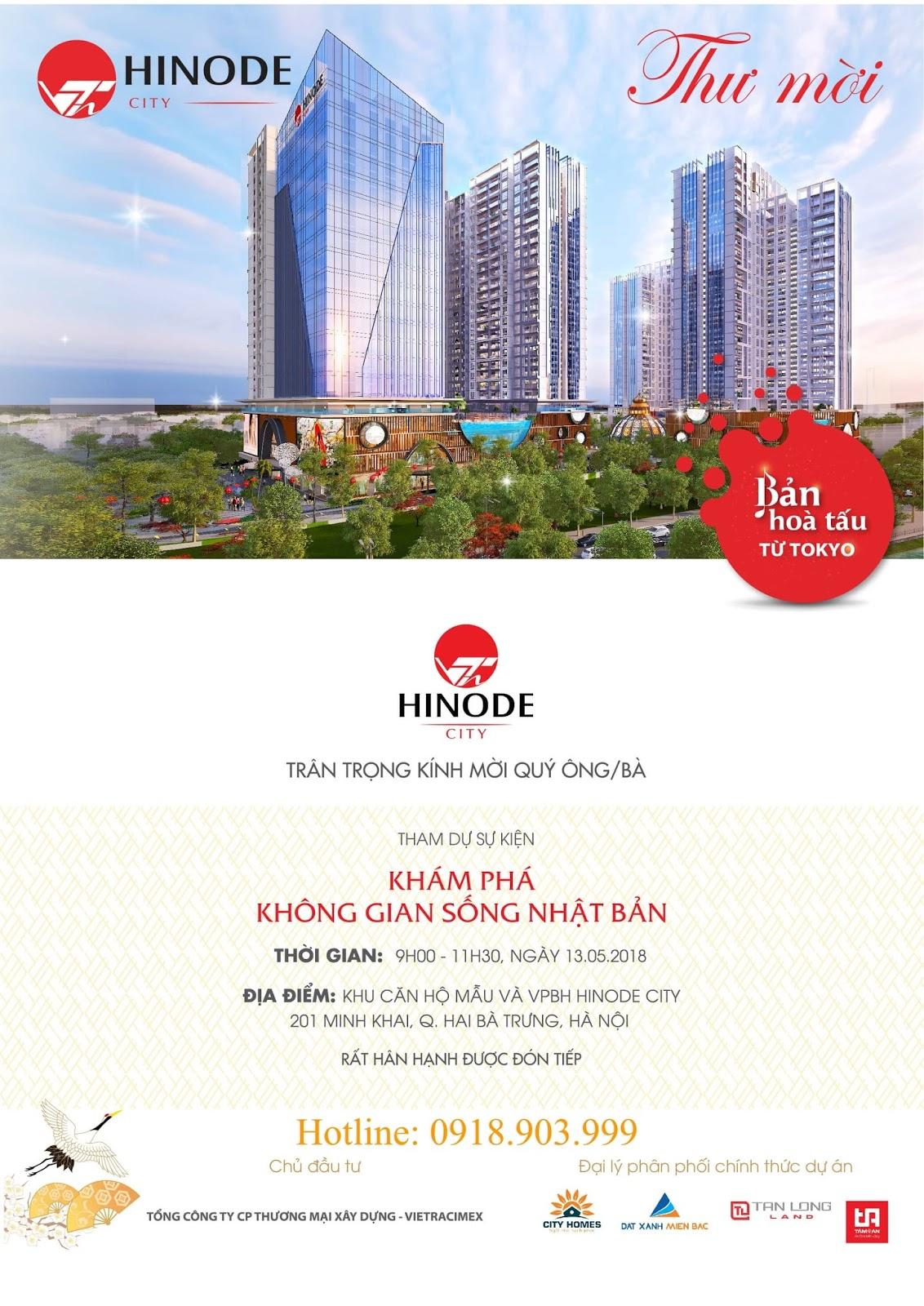 Thư mời tham dự sự kiện mở bán Hinode City 201 Minh Khai