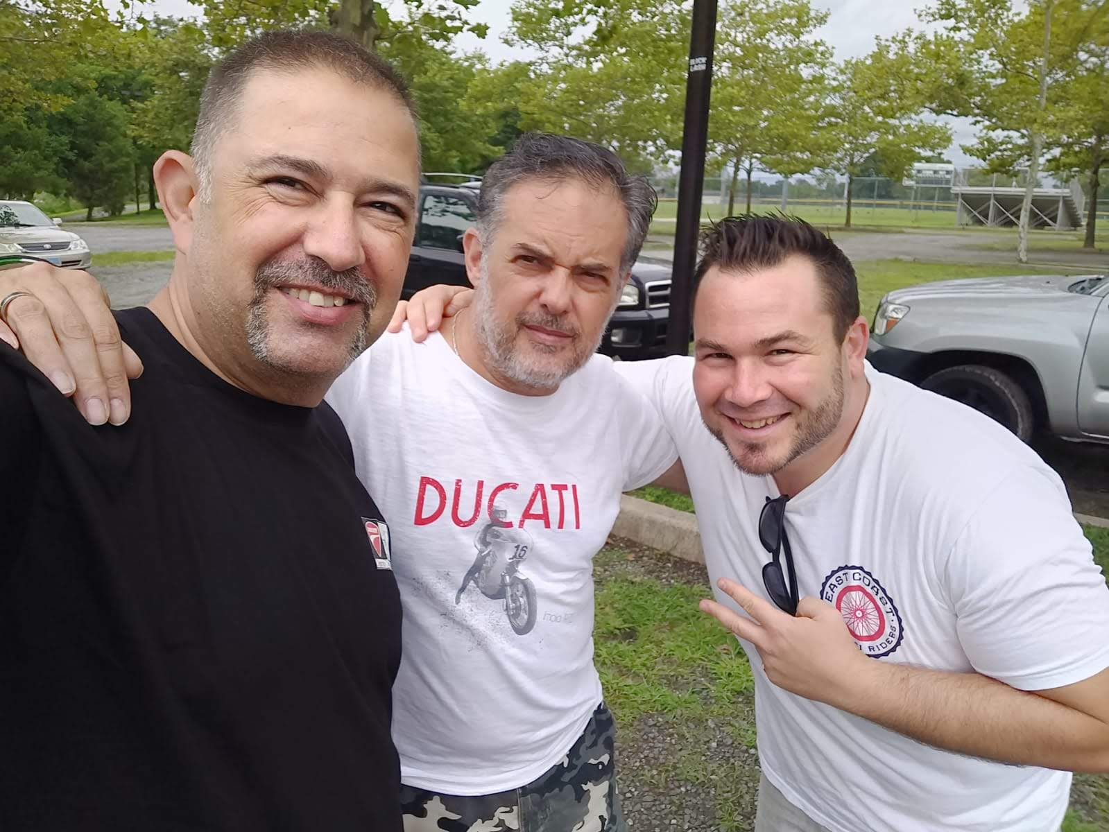 DOC Presidents Daniel Petri of Desmo Owners Club Israel Sandro DiCicco of Desmo Ducati, and Tigh Loughhead of Gotham Ducati #WPMNeverEnds