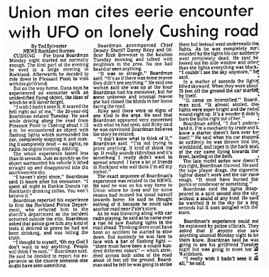Union Man Cites Encounter with UFO - Bangor Daily News 6-7-1978