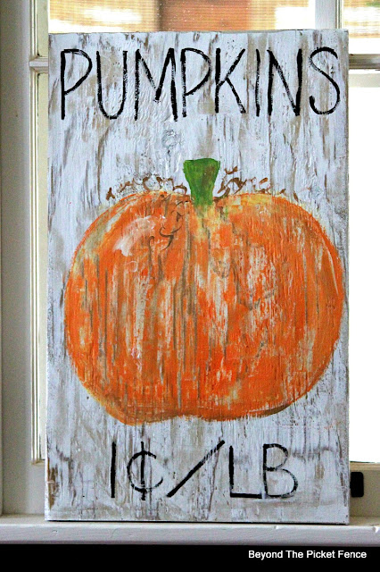 make a weathered sign for fall decor using this paint technique