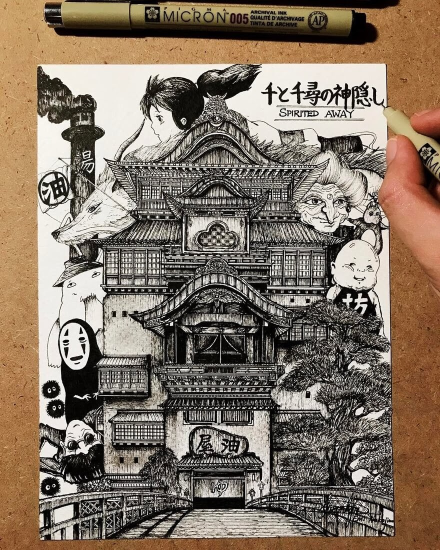 02-Spirited-Away-#千と千尋の神隠し-Studio-Ghibli-Emi-Nakajima-Detailed-Architectural-Drawings-Real-and-Imaginary-www-designstack-co