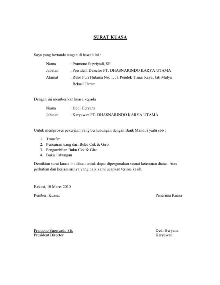 contoh surat kuasa print buku tabungan