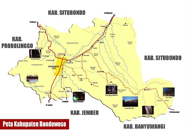 Gambar Peta Kabupaten Bondowoso lengkap peta wisata