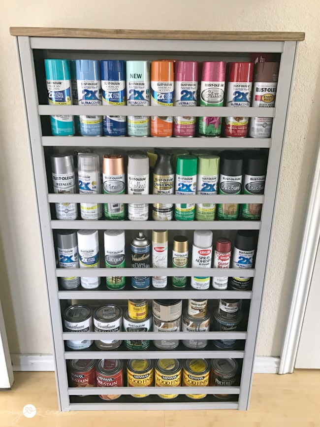 Repurposed Crib Paint Shelf, MyLove2Create