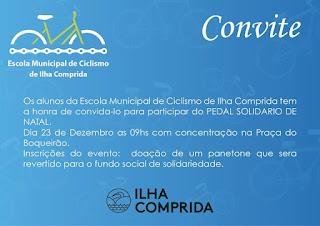 Ilha Comprida convida para Pedal Solidário de Natal no domingo 23/12