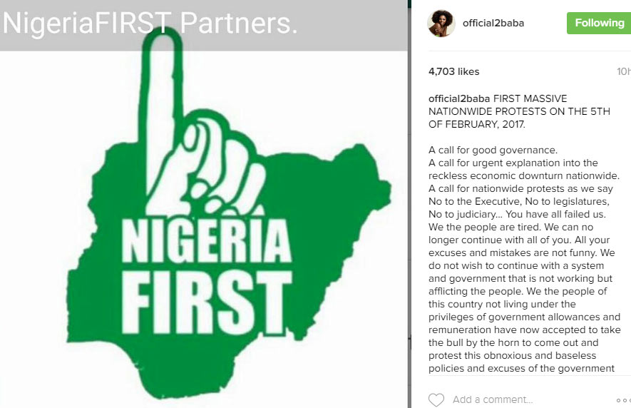 2baba to lead massive protest against Buhari's govt on 5th February