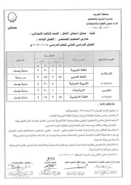 """رسمي ومختوم من الوزير """"جداول امتحانات نهاية العام 2019"""" الترم الثاني لمحافظات مصر 10 6/4/2019 - 5:34 م"""