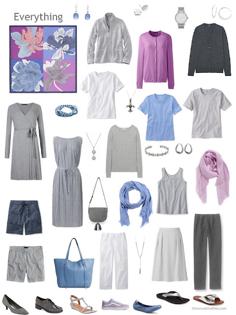 capsule wardrobe in grey and white with accents of blue and orchid pink