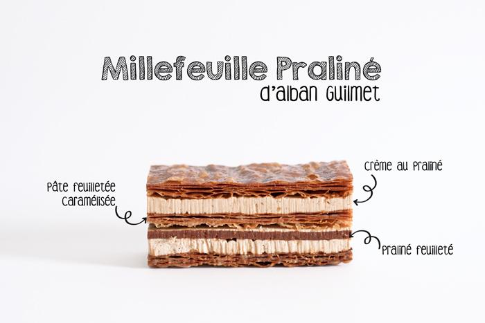 Descriptif des différentes couches composant le Millefeuille praliné d'Alban Guilmet pâtissier à Caen