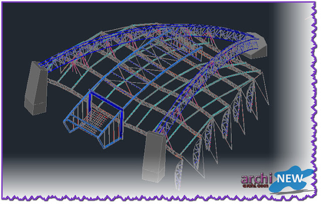 Vertical projections of the project (sections) Ful Sports Hall gym dwg