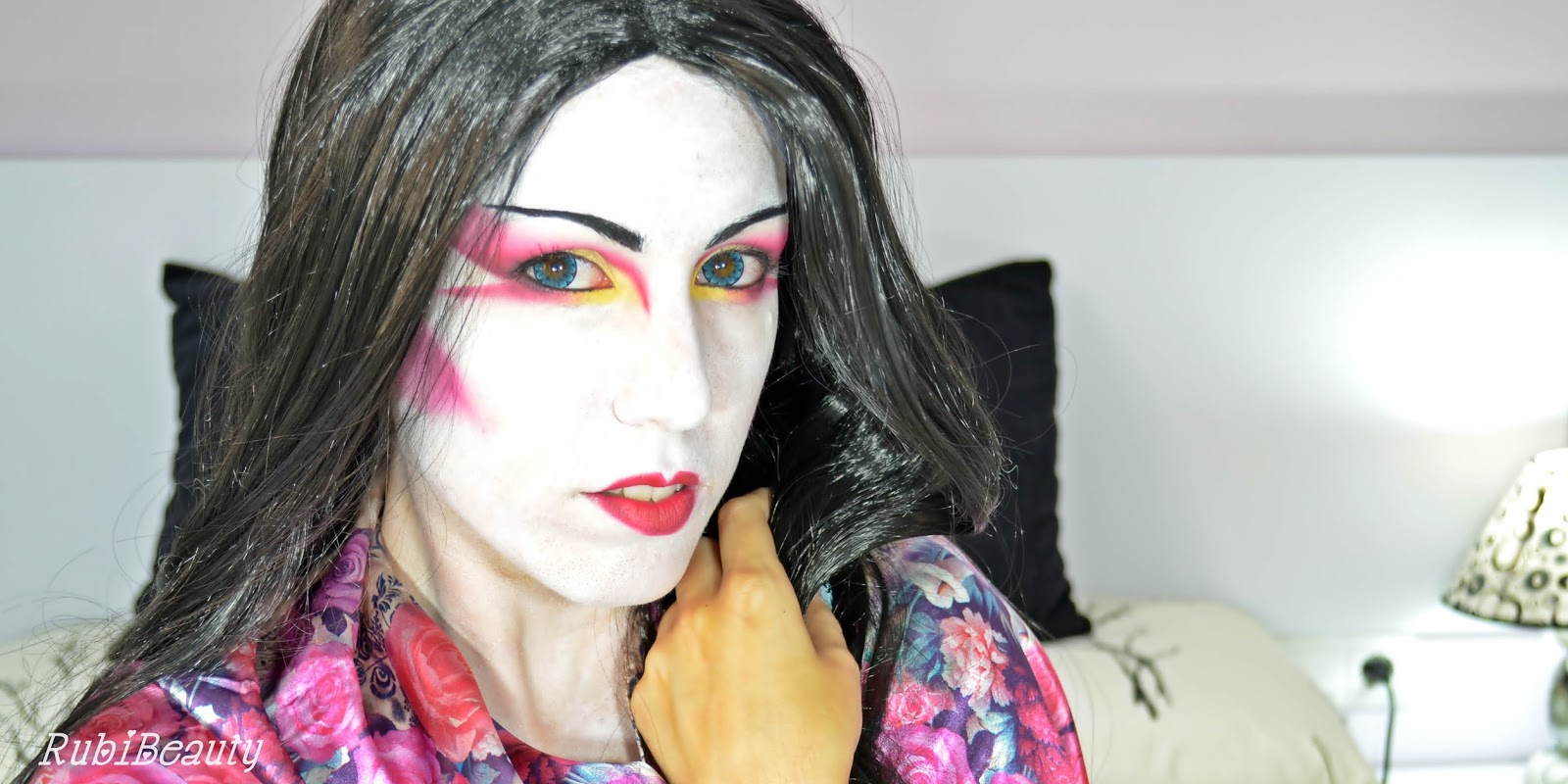 rubibeauty modern geisha facepaint makeup tutorial halloween 2014