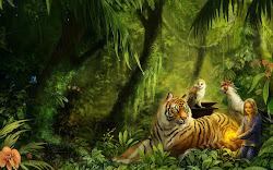 fantasy desktop hd wallpapers tiger forrest painting backgrounds computer animals jungle mystical
