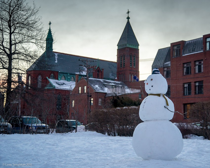 Portland, Maine USA February 2016 photo by Corey Templeton. A well-built snowman snowman in the West End of Portland.