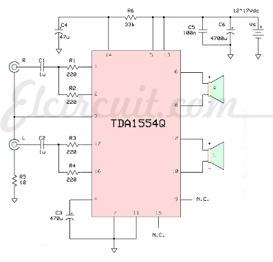 Schematic TDA1554HQ  Power Amp