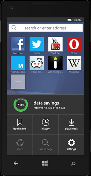 Opera mini cho windowphone