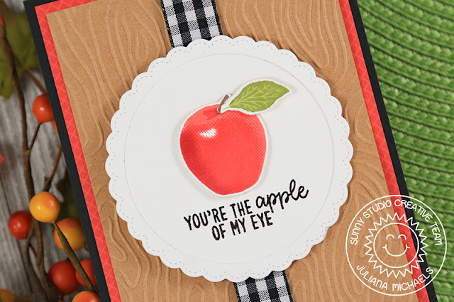 Sunny Studio Stamps: Fruit Cocktail Fancy Frames Circles Dies Apple Of My Eye Card by Juliana Michaels