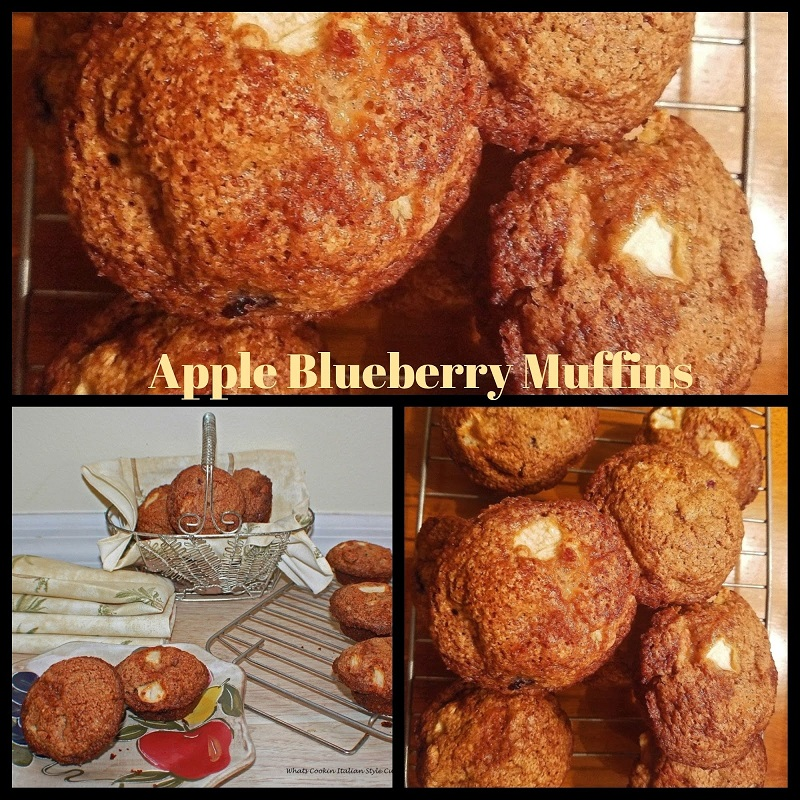 this apple and blueberry muffin recipe collage and is easy and fast to make. They are full high crowned muffins with fruit throughout to keep them moist. The perfect breakfast muffin or brunch. Delicious muffins slathered in butter or plain
