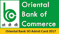 Oriental Bank SO Admit Card 2017