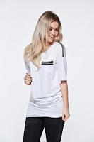 Tricou MissQ alb casual lung din material usor elastic • MissQ