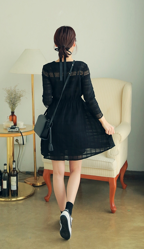 Embroidered Ladder Eyelets Dress