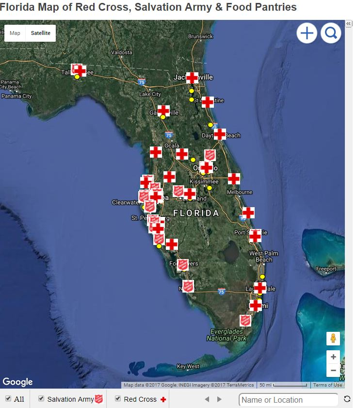 Disaster Relief Maps Florida Map Of Red Cross Salvation Army - Florida map google