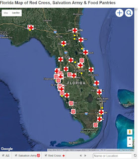 Florida Map of of Red Cross, Salvation Army & Food Pantries